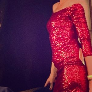 2019 Holiday Dress! NWT Red Sparkle Sequin Sz Sm